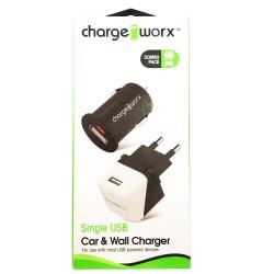 ChargeWorx CX3112 Φορτιστής Αυτοκινήτου και Φορτιστής Ταξιδίου 1 Θέσης
